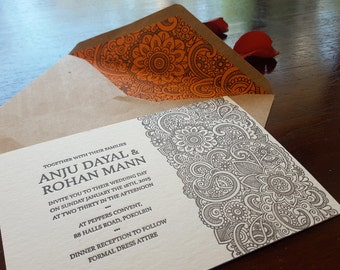 HENNA FLORALS: Letterpress Wedding Invitation (sample)