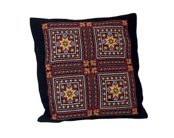 Black & Multi Colours Embroidered Bedouin Cotton Cushion Cover