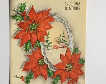 Used Vintage Christmas Card for Mother Made in USA