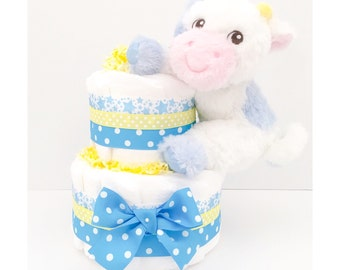 Diaper Cake - Diaper Cakes For Boys - Cow Diaper Cake - Cow Baby Shower - Baby Shower Centerpiece