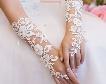 Fingerless Gloves Wedding Bridal - Victorian - VENETIAN LACE -White Ivory  Champagne  Wrist Corsage Custom Made to Order On SALE Now!