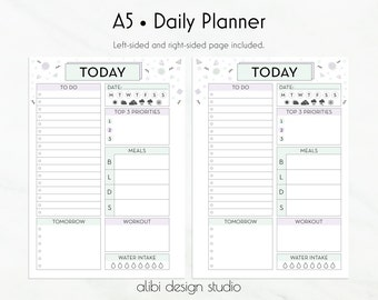 Daily Planner, A5 Planner Inserts, To Do List, Daily Schedule, A5 Planner, Printable Planner, Meal Planner, Planner Inserts, Water Intake