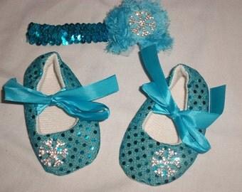 Beautiful glitzy baby shoes and matching headband