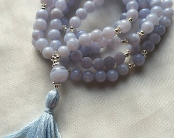 Mala chalcedony blue, with silver decorated end bead chalcedony blue with tassel,