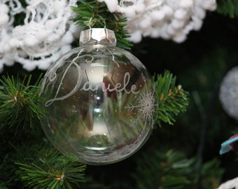 Christmas glass ball decorated with name