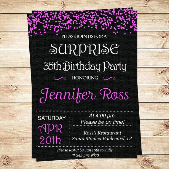 Hot Pink Confetti Surprise 30th Birthday Invitations Custom