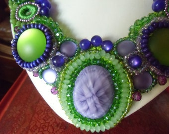 Purple and green embroidered necklace