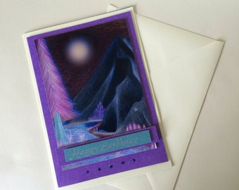 Birthday card. Printed copy of my original artwork digitally altered and mounted onto card. Mountain and river card in purples
