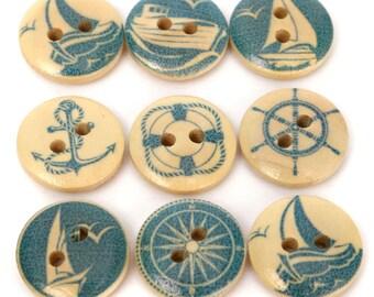 10 Wooden Sailing Pattern Buttons 15mm, Round Painted Buttons, Sea Themed Buttons, Wooden Mixed Buttons, Scrapbooking, Craft Supplies UK C84