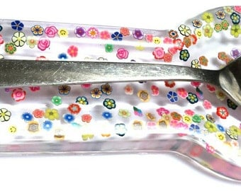 Flower floral bright spoon rest kitchen cooking baking resin