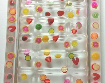 Tooty fruity fruit soap dish bathroom summer sun fun strawberry apple handmade