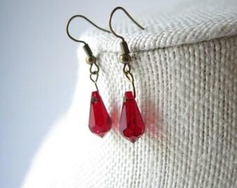 Swarovski blood red faceted crystal briolette dangle earrings, boho earrings,gemstone jewelry; handmade jewelry