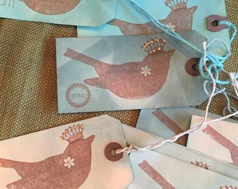 10 Aqua handdyed   paper   hand stamped   glittered bird tags