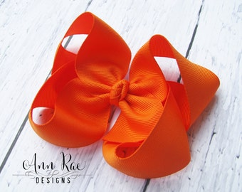 Large Orange Hair Bow, Baby Bow, Girls Hair Bow For Babies, Hair Bow For Girls, Boutique Hair Bow, Orange Bow, Baby Headband, Girls Headband