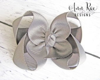 Pewter Baby Hair Bow, Girls Hair Bow, Baby Girl Headband, Grey Hair Bow, Hair Bow For Girls Baby Bows, Baby Girl Hair Bow, Boutique Hair Bow