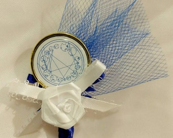 Doctor Who Galifreyan inspired boutonniere for Groom, Wedding party, Sweet 16, Quinceanera, or Prom~ Royal Blue White & Gold~ Customizable