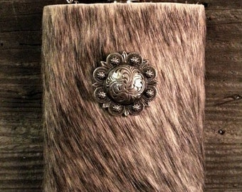 8 oz cowhide flask with concho - light brindle