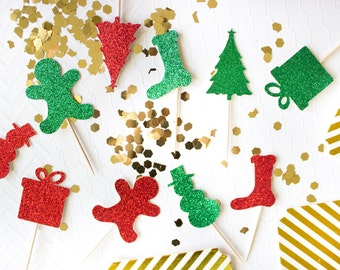 12 Christmas Cupcake Toppers // Christmas Cupcake Picks // Holiday Cupcake Topper // Christmas Party Decorations // Gingerbread // Snowman