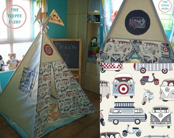 Teepee, Kids Teepee Tent, Campervans, VW, Novelty, Tipi, Childrens Tepee, 100% Cotton Canvas, Fabric Playhouse, Made to Order