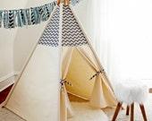 Grey/White Chevron Teepee WITH POLES  (kids teepee, childrens teepee, tipi, playtent, wigwam, childrens decor)
