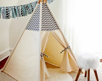 Grey/White Chevron Teepee WITH POLES  (kids teepee, childrens teepee, tipi, playtent, wigwam, childrens decor)