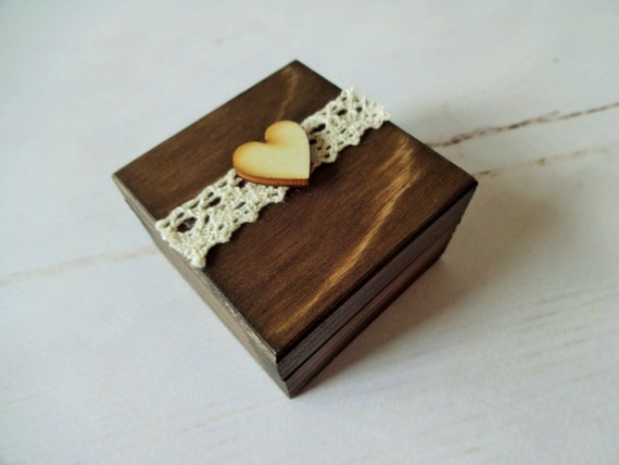 Small wooden rustic proposal box will you marry me box boho - Small rustic wooden boxes ...