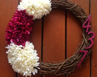 Customizable house number wreath