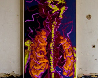 """Original Painting, """"Study After Vesalius"""", Oil, gloss and emulsion on board, Framed in pine wood and ready to hang"""