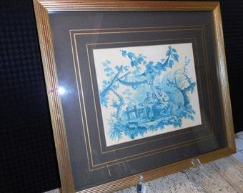 Vintage Framed Blue Chinoiserie Print