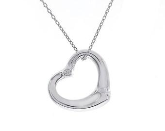 "Tiffany & Co. Else Perreti Open Diamond Heart Pendant Necklace With 16"" inch Chain"