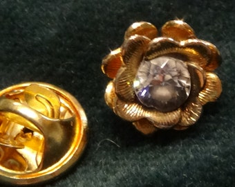 Tie Tack/Lapel Pin/Hat Pin, Gold-tone Flower with Swarovski Crystal