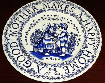 "CHARMING! 1976 Vintage Royal Crownford Norma Sherman Blue Decorative Plate ""A Good Mother Makes A Happy Home"" Staffordshire England"