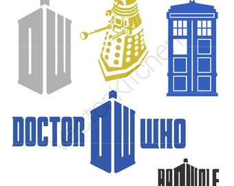 Dr Who Tardis Dalek It's Bigger on the Inside - Time Machine - Inspired Cutting Template SVG EPS Silhouette Cricut Vector Instant Download