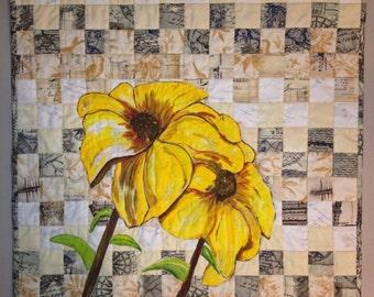 """Art Quilt Curly Lazy Susans titled """"Paper Flowers"""""""
