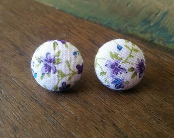 Handmade floral fabric button earrings 19mm