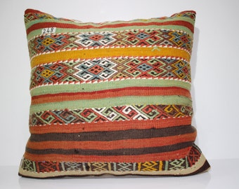 kilim pillow 24x24 organic wool kilim pillow cover bohemian kilim cushion cover embroidered pillow cover large floor cushion case SP6060-248