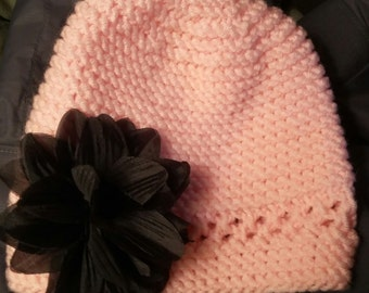 knitted toddler girl hat pick your flower or take all flowers home to match any look