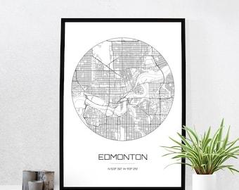 Edmonton Map Print - City Map Art of Edmonton Canada Poster - Coordinates Wall Art Gift - Travel Map - Office Home Decor