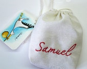 Bag with embroidered name