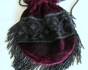 Victorian Steampunk Purple Velvet Victorian Drawstring Evening Bag