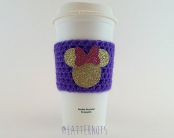 Glitter Minnie Mouse Coffee Cup Cozy / Crochet Coffee Sleeve / Reusable Cozie / Customizable