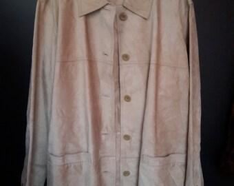ST. JOHN 'S BAY Suede Leather Sand Colour Beige Shirt Jacket