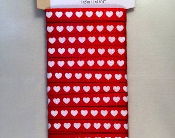 Ribbon red with white hearts
