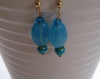 Blue and gold glass bead dangle earrings