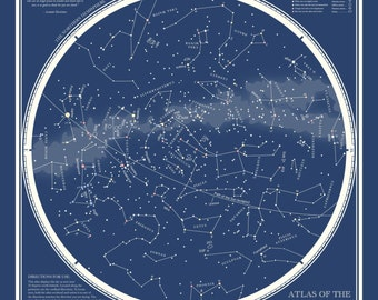 "Astronomy Art, Star Art, Star Chart, Constellation Print, ""Atlas of the Heavens"""