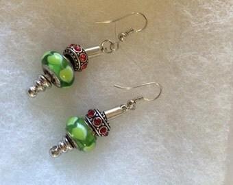 Holiday Cheer European Murano Earrings by Mory