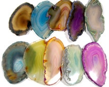 10 Agate Slices Coloured Geode Polished Slabs Brazil Agate Slice Random Selection Mix Colours FREE USA SHIPPING!