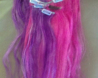 Half purple and pink human hair extensions