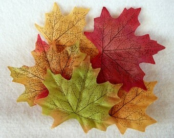 Colorful Silk Fall Maple Leaves For Crafting, Decorating, Floral Arrangements - Package of 25