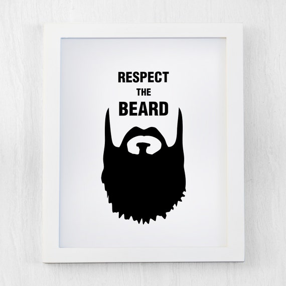 Items similar to Respect the beard, hipster print, black ...